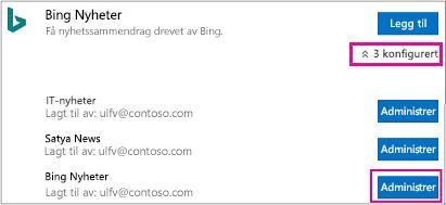 Administrere knapper på Kobling-siden