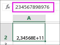 En tallverdi vises som eksponentiell når det er tolv sifre eller flere