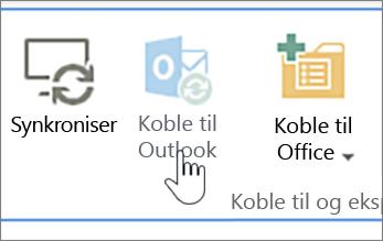 Bånd med deaktivert koble til Outlook-knapp uthevet