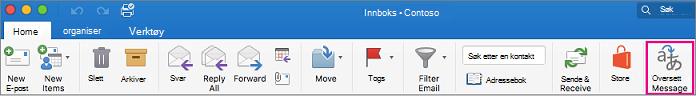 Oversettelsesknapp på båndet i Outlook for Mac