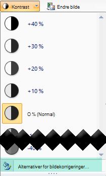 Hvis du vil fin justere mengden kontrast, velger du alternativer for bilde korrigeringer