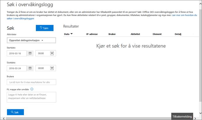 Aktivitetsrapport fra Office 365 filtrert for invitasjonsoppretting