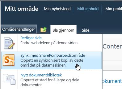 Kommandoen Synkroniser med SharePoint Workspace på Områdehandlinger-menyen