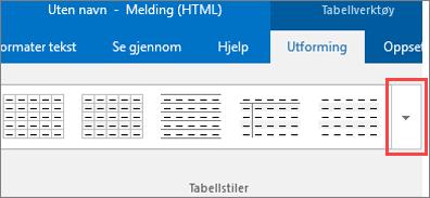Skjermbilde av første seks tabellstiler og Mer-knappen for å se alle tabellstiler.