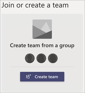 Opprett et team fra en gruppe.