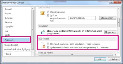 Synkroniser RSS-feeder