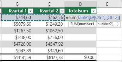 Legge til en enkelt formel i en tabellcelle som vil Autofullfør til å opprette en beregnet kolonne