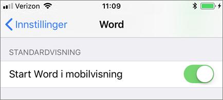 Innstillingen Start Word i mobilvisning er valgt