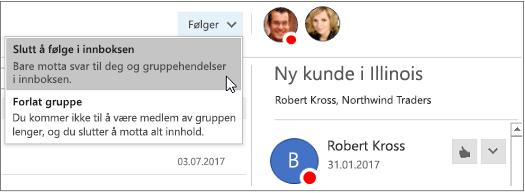 Abonnere på-knappen i overskriften til grupper i Outlook 2016