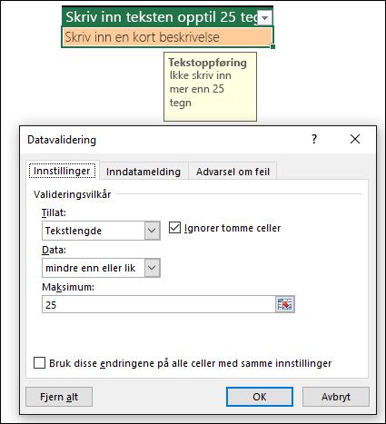 Eksempel på datavalidering med begrenset tekstlengde