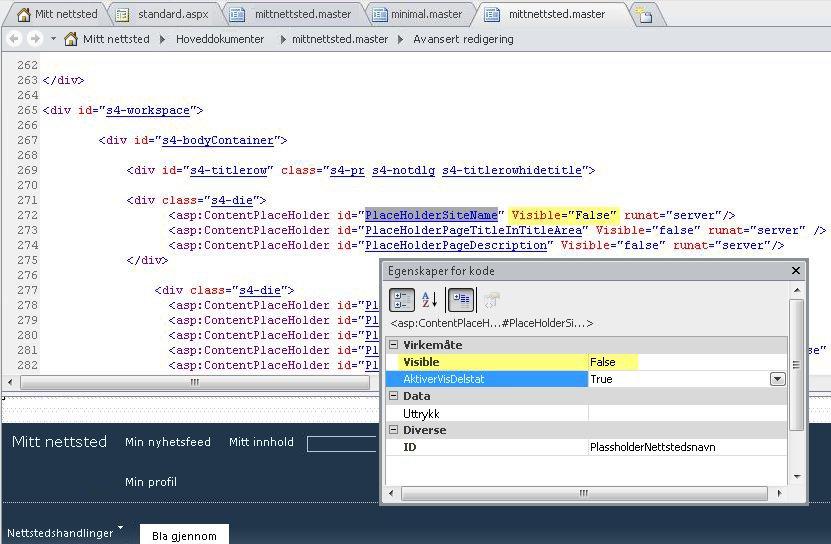 Her vises kodeegenskapene for kontrollen PlaceHolderSiteName.