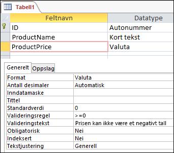 Feltvalideringsregel vist i Access-tabellutforming