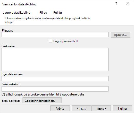 Data veiviseren for datatilkobling skjermen 3