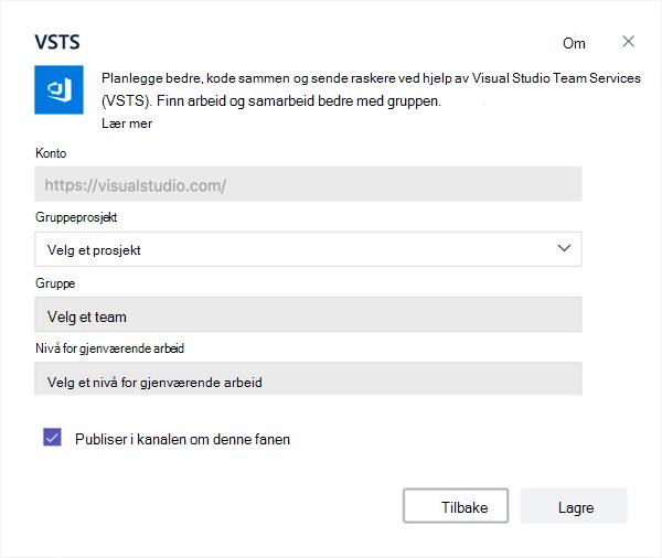 Visual Studio-dialogboksen for å legge til en Kanban-tavle på en fane