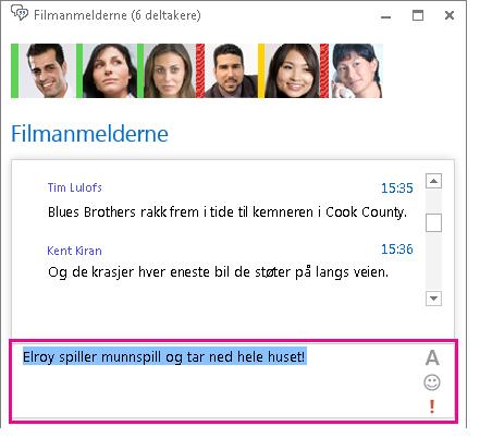 Skjermbilde av chatteromvindu som viser en melding med endret skrift og et uttrykkssymbol lagt til