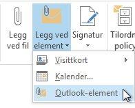 Kommandoen Legg ved Outlook-element på båndet