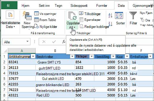 Excel-regneark med importert liste og Oppdater alle-knappen uthevet.