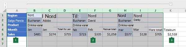 Disposisjon av kolonner i Excel online
