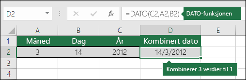 Eksempel 2 for dato-funksjonen