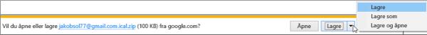 Velg en plassering der du vil lagre den eksporterte Google-kalenderen.