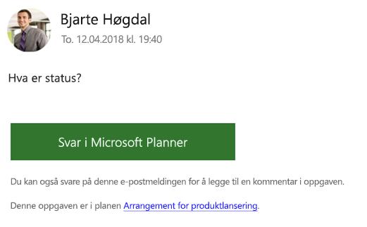 Skjerm bilde: viser et eksempel på en gruppe e-postmelding du kan motta.