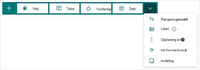 Alternativer for spørsmålstype i Microsoft Forms