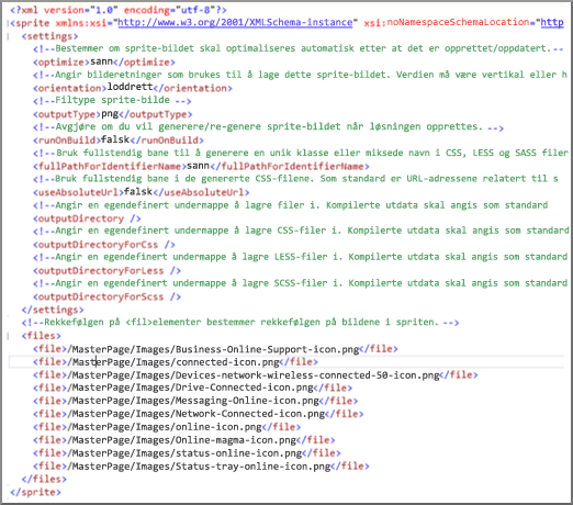 Skjermbilde av en XML-spritefil
