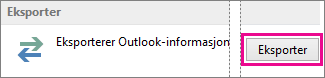 avanserte alternativer for Outlook – eksporter