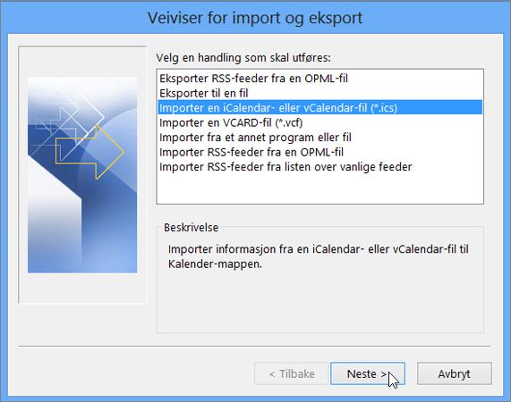 Velg Importer en iCalendar- eller vCalendar-fil.