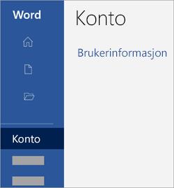 Skjermbilde av kontoområdet i en Office-app