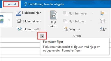 Skjermbilde av Outlook-grensesnittet som viser Format-fanen med Formater figur merket.