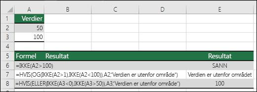 Eksempler på IKKE med HVIS-, OG- og ELLER-funksjoner