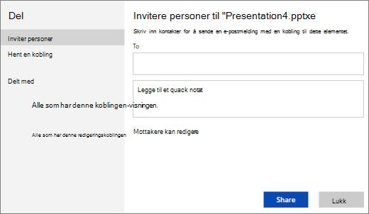 Invitere andre til en presentasjon