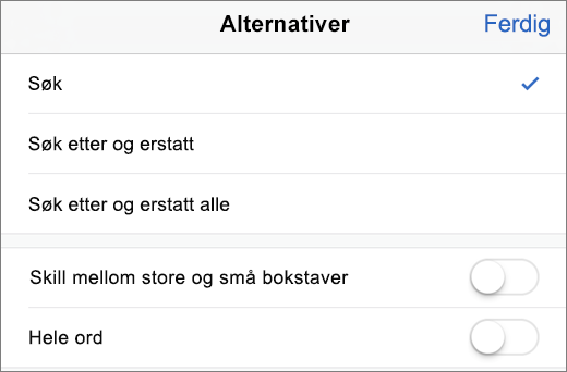 Viser Søk og Finn alternativer i Word for iPhone.