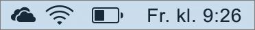 OneDrive-ikonet i systemstatusfeltet for Mac