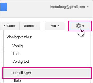 Google-kalender – innstillinger – innstillinger