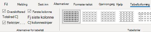 Gruppe stiler for tabell utforming for Outlook for Windows