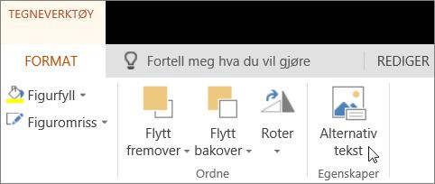Skjermbilde viser Format-fanen i Tegneverktøy og markøren peker til alternativet Alternativ tekst.