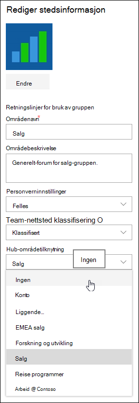Fjerne tilknytningen et område fra et SharePoint-hub-område