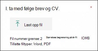 Spørsmål i Microsoft Forms som gjør at filer kan lastes opp