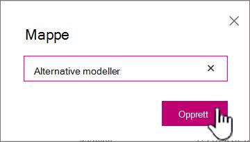 Dialogboks for mappe med Opprett-knappen uthevet