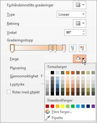 Endre fargen for hvert graderingsstopp