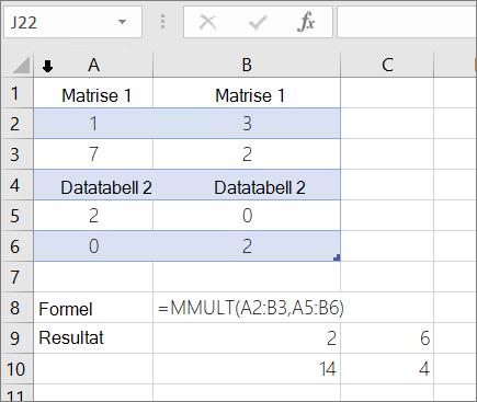 MMULT-funksjonen – eksempel 1