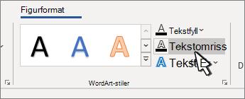 Tekst omriss for WordArt-stiler valgt