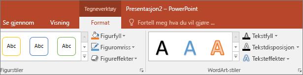 Viser Tegneverktøy-fanen på båndet i PowerPoint