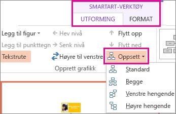 Oppsettalternativer for et SmartArt-organisasjonskart