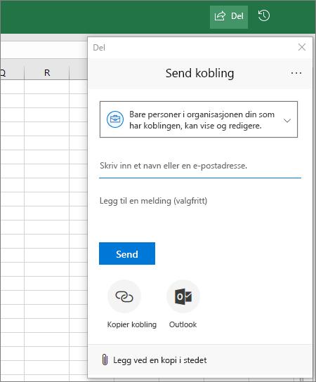 Del-ikon og -dialogboks i Excel