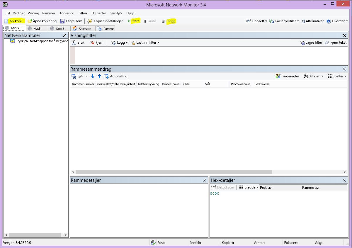 Nemon-brukergrensesnittet med knappene Nytt skjermklipp, Start og Stopp uthevet.
