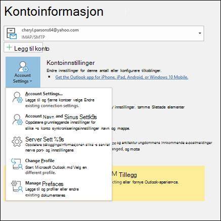Du har flere typer konto innstillinger du kan endre i Outlook.