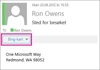 Outlook-melding viser Bing-kartapp